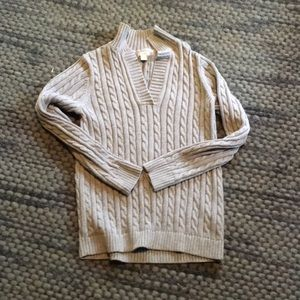 L.L. Bean grey cable knit sweater size M